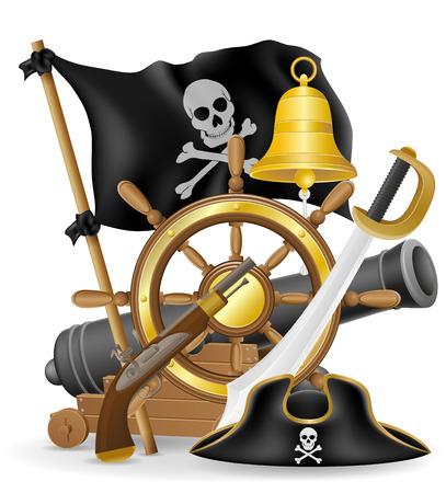 mapa del tesoro: pirata Iconos del concepto ilustración vectorial aislados en fondo blanco