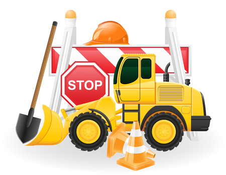 tractor warning: road works concept icons vector illustration isolated on white background Stock Photo