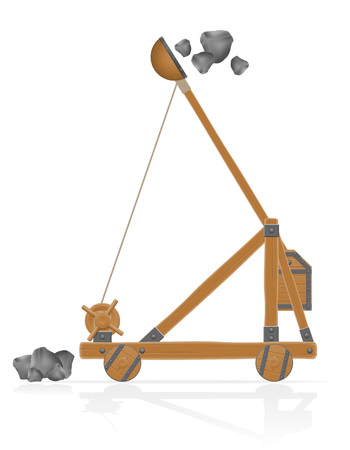 archer cartoon: old medieval wooden catapult shooting stones vector illustration isolated on white background