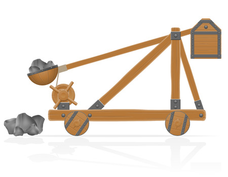 catapult: old medieval wooden catapult loaded stones vector illustration isolated on white background