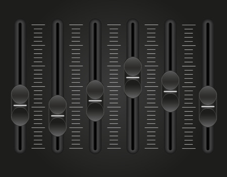 noisiness: panel console sound mixer vector illustration on black background Stock Photo