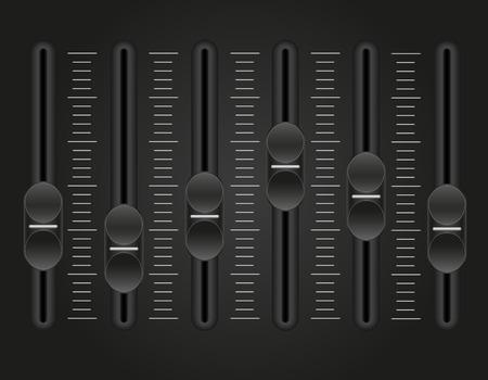 panel console sound mixer vector illustration on black background Stock Photo
