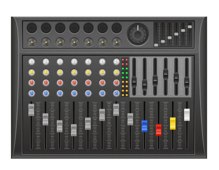 panel console sound mixer vector illustration isolated on white background Stock Photo