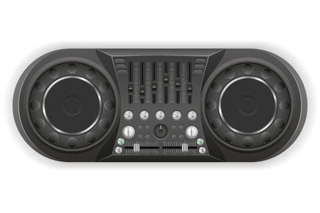 dj panel console sound mixer vector illustration isolated on white background
