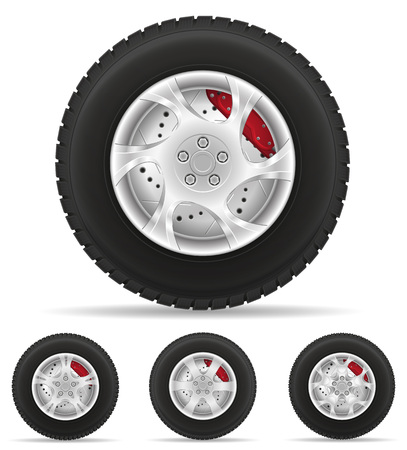 tire cover: set icons car wheel tire from the disk vector illustration isolated on white background Stock Photo