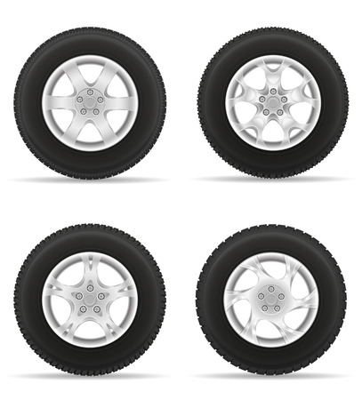 clutch cover: set icons car wheel tire from the disk vector illustration isolated on white background Stock Photo