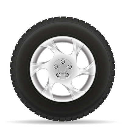 clutch cover: car wheel tire from the disk vector illustration isolated on white background