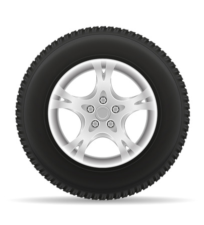 summer tires: car wheel tire from the disk vector illustration isolated on white background