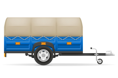 tarpaulin: car trailer for the transportation of goods vector illustration isolated on white background