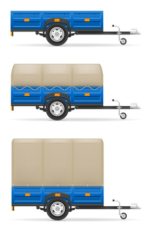 lading: set icons car trailer for the transportation of goods vector illustration isolated on white background