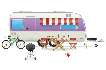 mobil: trailer camp caravan mobil home vector illustration isolated on white background