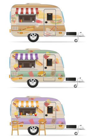 menu land: fast food trailer vector illustration isolated on white background Stock Photo