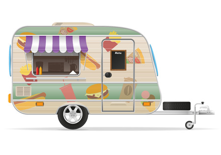 fast food trailer vector illustration isolated on white background Stock Photo
