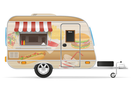 the land of menu: fast food trailer vector illustration isolated on white background Stock Photo