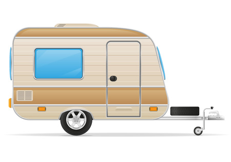 caravan: trailer caravan mobil home vector illustration isolated on white background Stock Photo