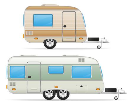 trailer caravan mobil home vector illustration isolated on white background Stock Photo