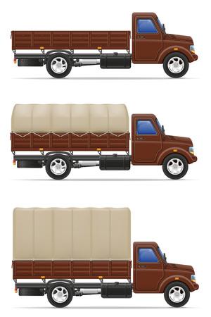 white goods: cargo truck for transportation of goods vector illustration isolated on white background Stock Photo