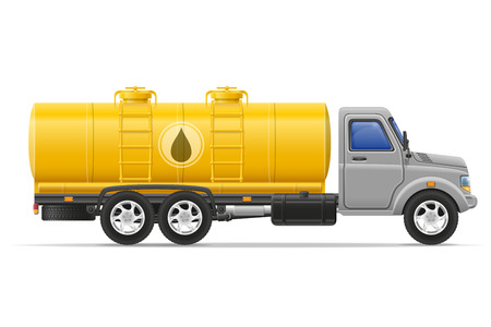 with liquids: cargo truck with tank for transporting liquids isolated on white background Stock Photo