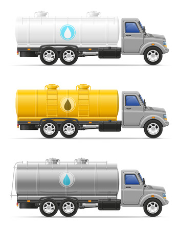 cargo truck with tank for transporting liquids isolated on white background Stock Photo