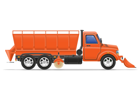 clearing: cargo truck clearing snow and sprinkled on the road vector illustration isolated on white background Stock Photo