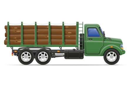cargo truck delivery and transportation of construction materials concept vector illustration isolated on white background Banque d'images