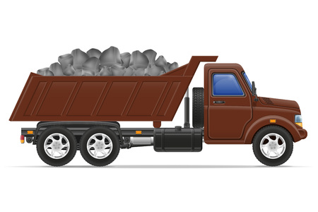 material: cargo truck delivery and transportation of construction materials concept vector illustration isolated on white background Stock Photo