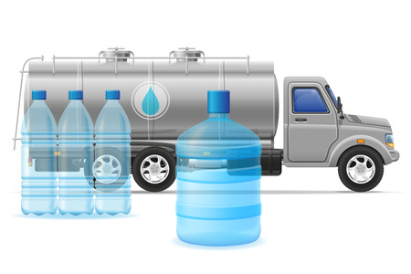 purified: cargo truck delivery and transportation of purified drinking water concept vector illustration isolated on white background