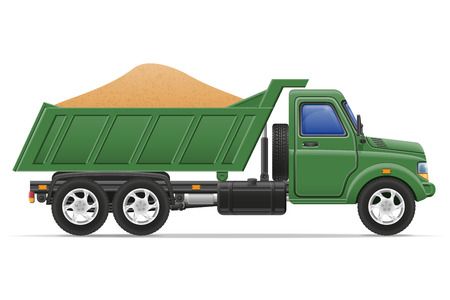 construction materials: cargo truck delivery and transportation of construction materials concept vector illustration isolated on white background Stock Photo