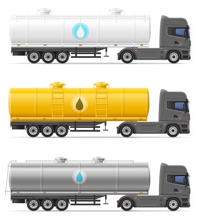 LKW-Sattelauflieger mit Tank für Flüssigkeiten Vektor-Illustration isoliert auf weißem Hintergrund Transport Standard-Bild