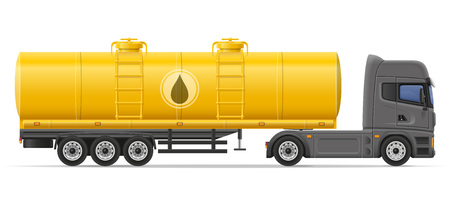 semi trailer: truck semi trailer with tank for transporting liquids vector illustration isolated on white background