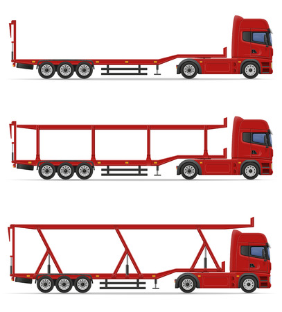 semi trailer: truck semi trailer for transportation of car vector illustration isolated on white background