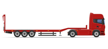 car tire: truck semi trailer for transportation of car vector illustration isolated on white background