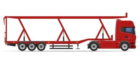 transportation cartoon: truck semi trailer for transportation of car vector illustration isolated on white background