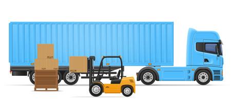 white goods: truck semi trailer for transportation of goods concept vector illustration isolated on white background