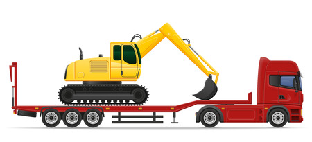 semi trailer: truck semi trailer delivery and transportation of construction machinery concept vector illustration isolated on white background