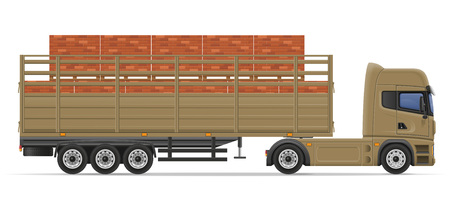 commercial van: truck semi trailer delivery and transportation of construction materials concept vector illustration isolated on white background