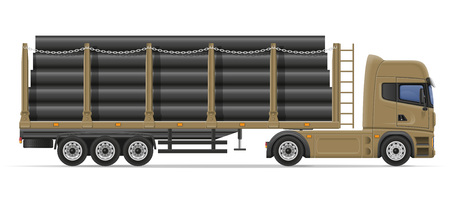 semi trailer: truck semi trailer delivery and transportation of construction materials concept vector illustration isolated on white background