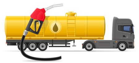 semi trailer: truck semi trailer delivery and transportation of fuel for transport concept vector illustration isolated on white background
