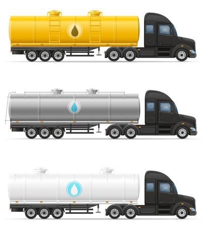 tanks: truck semi trailer delivery and transportation of tank for liquid vector illustration isolated on white background