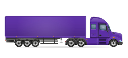white goods: truck semi trailer for transportation of goods vector illustration isolated on white background