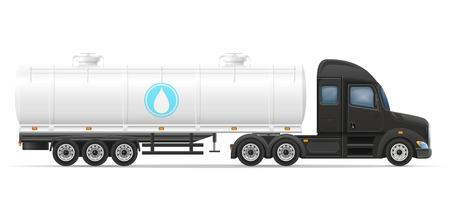Livraison par camion semi-remorque et transport de réservoir pour liquide illustration vectorielle isolé sur fond blanc Banque d'images - 53799855