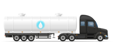 trucker: truck semi trailer delivery and transportation of tank for liquid vector illustration isolated on white background