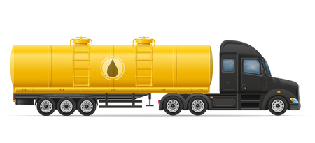 semi trailer: truck semi trailer delivery and transportation of tank for liquid vector illustration isolated on white background