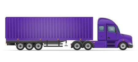 LKW-Sattelanhänger für den Transport von Waren Illustration Vektor isoliert auf weißem Hintergrund Standard-Bild