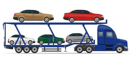 semi trailer: truck semi trailer for transportation of car concept vector illustration isolated on white background