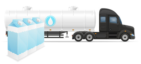 semi trailer: truck semi trailer delivery and transportation of milk concept vector illustration isolated on white background