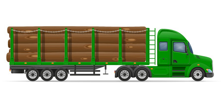 trucker: truck semi trailer delivery and transportation of construction materials concept vector illustration isolated on white background