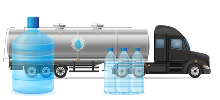 purified: truck semi trailer delivery and transportation of purified drinking water concept vector illustration isolated on white background