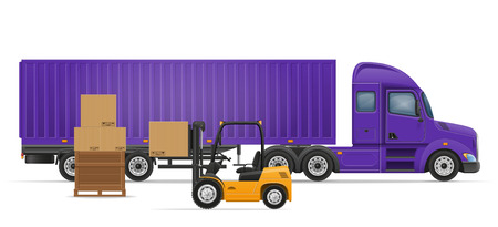semi trailer: truck semi trailer for transportation of goods concept vector illustration isolated on white background