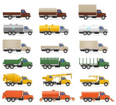 semi trailer: set icons trucks semi trailer vector illustration isolated on white background Stock Photo